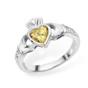 Sterling silver rubover set citrine cubic zirconia claddagh ring